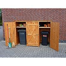 Mülltonnenbox BQ3 für 3 Tonnen in Holz, Farbe Honigbraun