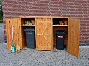 m lltonnenbox bq3 f r 3 tonnen in holz farbe honigbraun garten. Black Bedroom Furniture Sets. Home Design Ideas