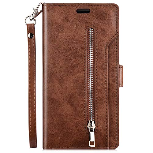 Kompatibel mit Samsung Galaxy S9 Plus Leder Hülle,Robinsoni Handytasche Schutzhülle Tasche Case [ 9 Kartensteckplätze ] Reißverschluß Brieftasche Flip Ständer Magnetverschluss Klappehülle,Braun