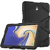 Lobwerk 3in1 Hülle für Samsung Galaxy Tab S4 10.5 Zoll SM-T830 T835 Outdoor Cover mit Displayschutz + Ständer Schwarz