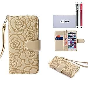 Samsung Galaxy S6 Case Wallet, ACO-UINT Galaxy S6 Wallet Case **Premium** Protective Flip Folio PU Leather Wallet Bumper Case Camellia Pattern for Samsung Galaxy S6 (Golden)