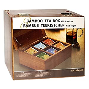 Boîte à thé en bambou avec 6compartiments