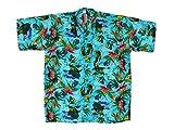Hawaiihemd Hawai Freizeit Hemd Shirt Viskose blau Zarte Blumen Blätter, Größe:L