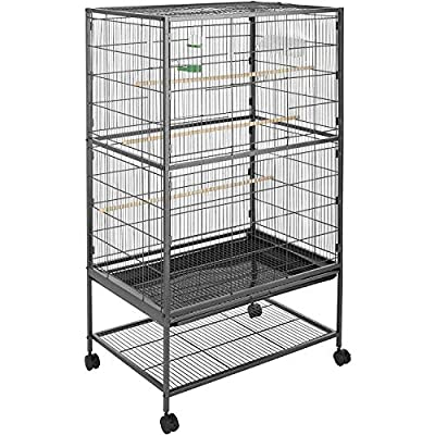 Bird Cage Large Portable Square Metal Bird Cage Aviary Parrot Budgie Canary Wheels Castors by Generic