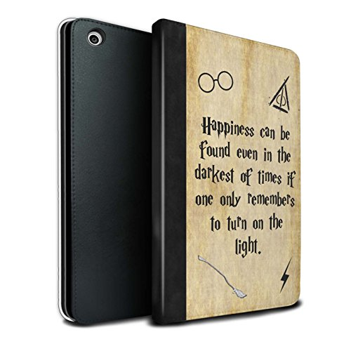 Stuff4® PU-Leder Hülle/Case/Brieftasche für Apple iPad Mini 1/2/3 Tablet/Happiness/Darkest Times Muster/Schule der Magie Film Zitate Kollektion - Film-zitate Mini Ipad