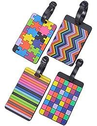 Tinksky Etiqueta silicona ID dirección soporte maleta etiqueta identificador bolsa accesorio del equipaje, paquete de 4