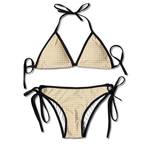 MSGDF Wicker Basket Weave on White Womens Triangle Top Bikini Swimsuit Sliding Swimwear Basket Weave Silk Tie