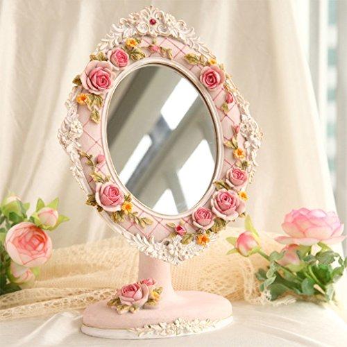 Miroir miroir- Desktop HD Portable simple face cosmétique maquillage miroir beauté résine 18cm réglable 27cm*rose ovale salle de bains Sweet miroir sur pied Bienvenue