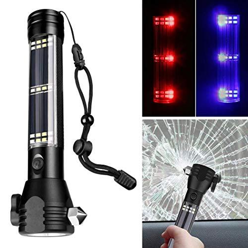 EDQZ LED Taschenlampe, Solar Power USB Wiederaufladbare Extrem Hell Outdoor COB LED Licht, Multifunktionale Tragbare Taschenlampe für Camping Wandern (Mit 18650 Batterie) - Schwarz -