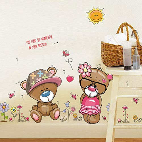Luzhenyi Couple Bear Ladies Wall Stickers Living Room Bedroom Warm Cartoon Self - Adhesive Background Wall Stickers Stickers 110X60Cm -