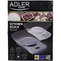 Adler - Báscula electrónica de Cocina con Cuenco Blanco y Azul, ...