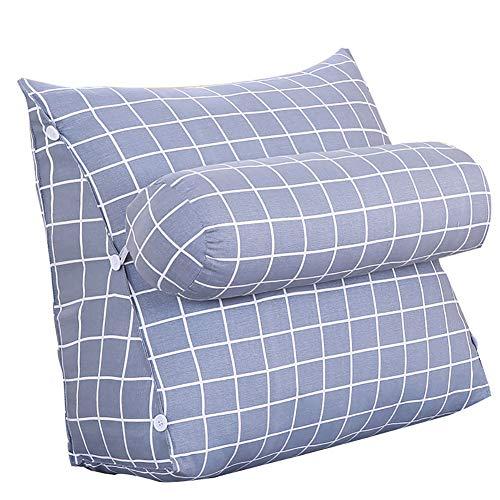 VERCART Rückenkissen Nackenrolle Wedge Pillow tv Kissen für Sofa Bett Leinen Muttertags geschenk Graue Grün 60x50x22cm