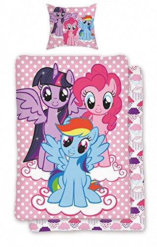 Bettwäsche Set My Little Pony Pink Rosa 2tlg Wendeoptik 100% Baumwolle Gepunktet Kinder Pferde Design, Größe:135x200 cm + 80x80 cm