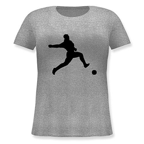 Fußball - Fußball - Lockeres Damen-Shirt in großen Größen mit Rundhalsausschnitt Grau Meliert
