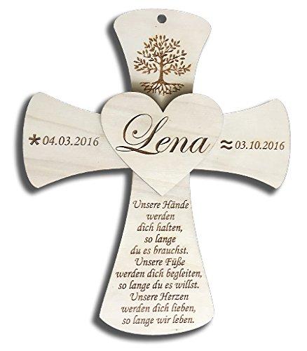 Taufkreuz aus Holz inkl. individueller Wunschgravur | Geschenk zur Taufe| Taufgeschenk | Geburt | Baby | 25x30cm