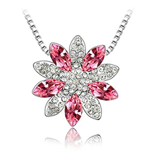 Daesar Schmuck Damenkette Vergoldet Snow Lotus Halskette Zirkonia Strass Anhänger Halskette für Frauen