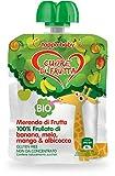 Cuore di Frutta Frullato Bio 100% di Banana, Mela, Mango e Albibocca, 12 Confezioni da 90 Gr