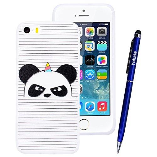 Yokata Cover per iPhone 5S / 5 / SE 3D Sollievo Disegno Custodia Gel Silicone Molle di Flessibile TPU Morbido Case Protezione Backcover Soft Caso Gomma Bumper Protettiva Shell + Penna - Elefante Panda