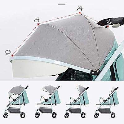 XYL Silla de Paseo Plegable Doble para bebés con una combinación de Canasta de Almacenamiento Grande Arnés de Cinco Puntos Tragaluz Grande Cochecito cómodo,Naranja
