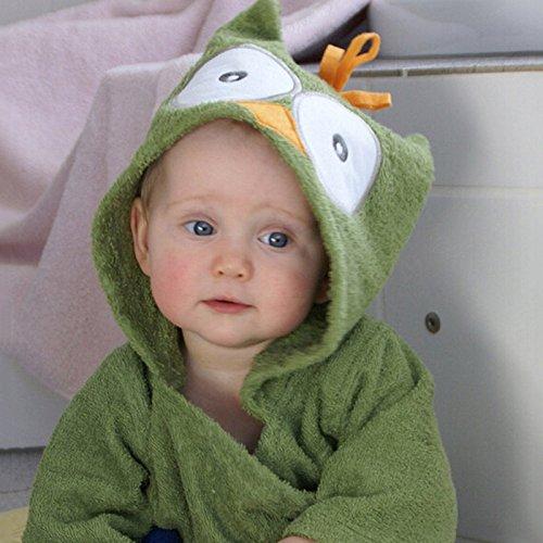 Brawdress Bestickt Baby Mädchen Jungen Bademantel | Kapuzenhandtuch, Tierisches Design, Baumwolle Badetuch Für Kinder 0-2 Jahr (Rot Flanell Robe)