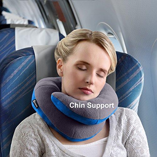 Oreiller de voyage BCOZZY avec support pour le menton - soutien la tête, le cou et le menton pour un maximum de confort en position assise, élu meille...