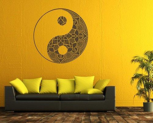 Wandtattoo Yin & Yang Mandala in verschiedenen Größen und Farben (40 x 40 cm, braun) (Acryl-latex-farbe)