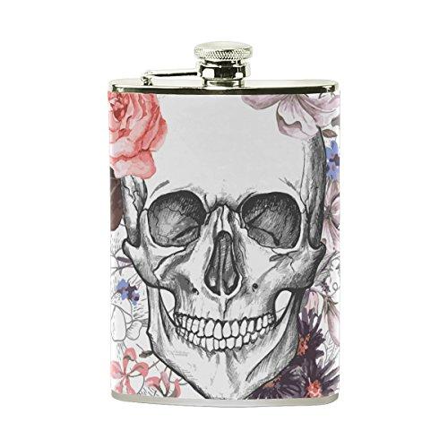 erte Hip Drink Fläschchen 8Oz aus Edelstahl für Damen Herren Halloween Skulls Floral Blumen (Spirituosen Halloween)