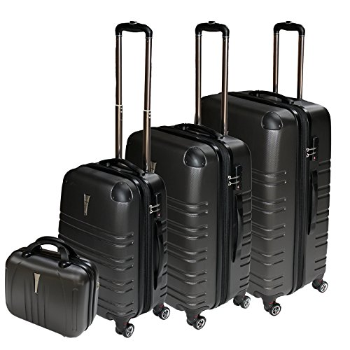 REISEKOFFER REISEKOFFERSET TROLLEY KOFFER 4 SET XL L M KOFFERSET REISEKOFFER BEAUTY CASE Anthrazit TSA Schloss