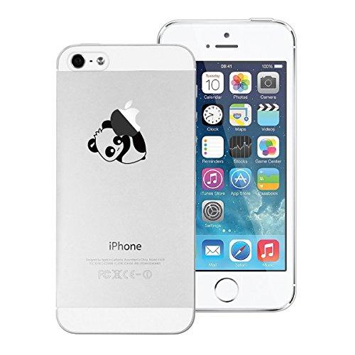 Yokata Cover per Apple iPhone 5S / 5 / SE Silicone Clear Trasparenti con Disegni Panda Fantasia Originale Rigida Custodia Ultra Slim Morbida Clear Gel Molle di Flessibile TPU Morbido Case Protezione B Panda 1