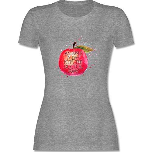 Statement Shirts - An apple a day keeps the doctor away - tailliertes Premium T-Shirt mit Rundhalsausschnitt für Damen Grau Meliert