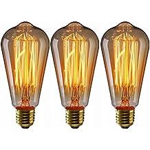 LEDMOMO Vintage Edison Glühbirnen, 60 W E27 Glühfaden Glühlampen Für  Pendelleuchten, Wandlampen, Deckenventilator