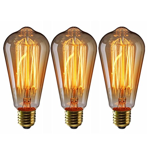 LEDMOMO Vintage Edison Bulbs, 60 W E27 Tungsten Filament Bulbs para iluminación colgante, apliques de pared, ventilador de techo y lámparas, paquete de 3