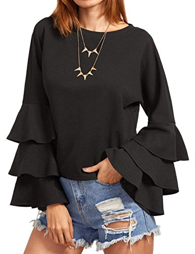 cooshional tunika damen,Damen Langarm Hemd Rundhals Tops Shirt Langarmshirt,schwarz (Ärmel Rüschen Bluse)
