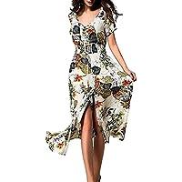 LILICAT Vestido largo de las mujeres de Bohemia corto retro floral de la manga de impresión Beach Party informal (Blanco, L)