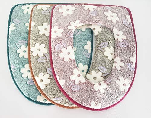 Takestop® copriwater universale tessuto fiori colorato antibatterico sedile tavoletta tazza per bagno copri wc water colore casuale