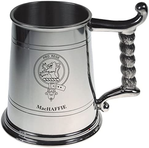 MacHaffie Crest Tankard con corda manico in peltro lucido Capacity 1 Pint Capacity lucido 1e3b31