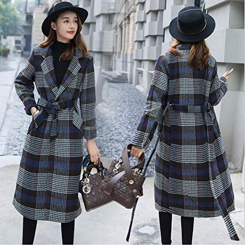 AYHRMFUD Herbst Und Winter Revers Langen Ärmeln Plaid Jacket Frauen Lange Version Knie Verdickung Belted Mantel Trend -