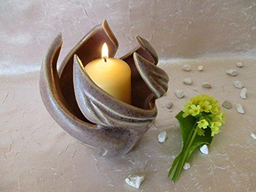 Klassische Zwölf-licht (Keramikschale für Kerzen, Kerzenschale, Blätter mit lila-rose Kristallglasur, ca. 13x12x12 cm, Kerzenständer, Kerzenhalter, Kerzenleuchter, Teelichthalter, Dekoschale, Tischdeko)