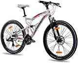 """26"""" Inch Alloy MOUNTAIN BIKE BICYCLE CHRISSON EMOTER Fully UNISEX with 21S SHIMANO TX55 2xDISC white matt"""