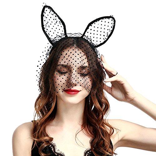 Chioce Sexy Spitze Maske Katze Ohren Hairband Luxus Party Haarschmuck Mädchen Haare Zubehör Cute Haarkranz Frauen Kopfband, Schwarz +EINWEG ()