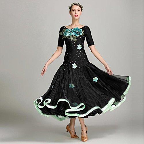 Wanson Standard Tanz Kleider Performance Kostüm Modernes Tanzkleid Für Frauen Große Schaukel Wettbewerb Kleider Mit Stickerei (Lycra Gewebe Für Tanz Kostüm)