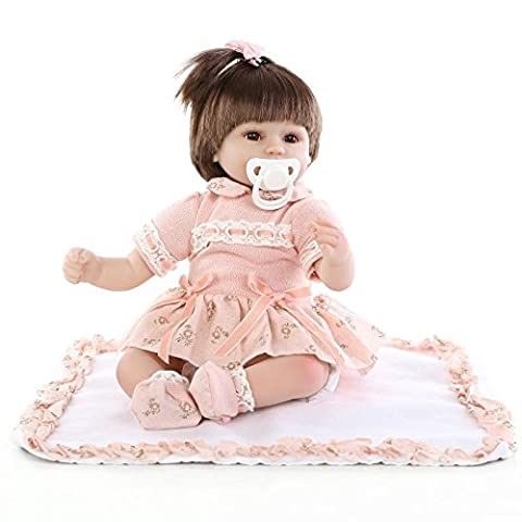 NPKDOLL Reborn Baby Doll Soft Silicone Vinyl 18inch 45cm Magnetic Mouth Lifelike Boy Girl Toy Orange Dress High Wig