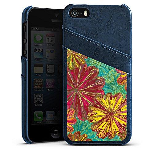 Apple iPhone 5s Housse Outdoor Étui militaire Coque Automne Fleurs Fleurs Étui en cuir bleu marine