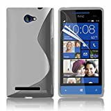 VCOMP Housse Etui Coque souple silicone gel motif S-Line pour HTC Windows Phone 8S - TRANSPARENT