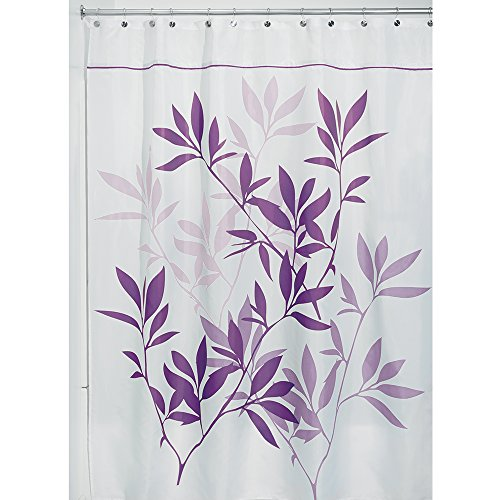 InterDesign Leaves Duschvorhang | Designer Duschvorhang in der Größe 180,0 cm x 200,0 cm | schickes Duschvorhang Motiv mit Blättern | Polyester violett