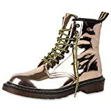 napoli-fashion Damen Stiefeletten Worker Boots Metallic Schnürstiefel Outdoor Schuhe Rose Gold 37 Jennika