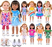 iBayda 2-Pairs Shoes and 10-Sets American Doll Clothes Dress Outfits for 14 to 14.5 Inch Dolls Like Wellie Wis