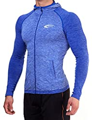SMILODOX Slim Fit Kapuzenpullover Herren | Seamless Longsleeve - Funktionsshirt für Sport Gym & Training | Langarmshirt - Trainingsshirt - Sportshirt mit Reißverschluss