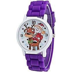 Ularma Christmas Gifts Children Color Fashion Watch Silicone Strap Wrist Watch Purple