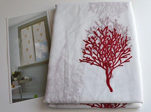 Coppia tendine confezionate per vetri finestra 60x150 cm regolabili art. valencia -rosso-